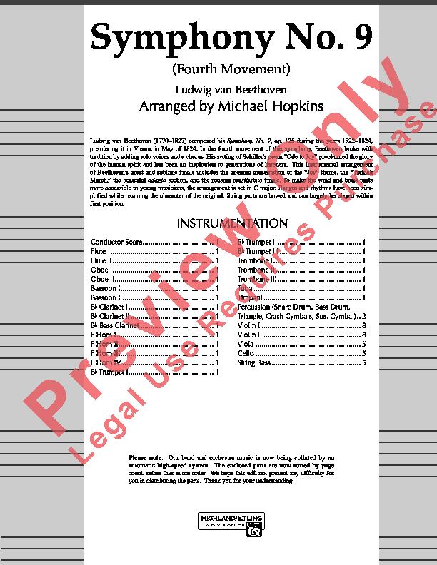 Symphony #9 (Fourth Mvt) Sheet Music by Michael Hopkins (SKU: 20594) -  Stanton's Sheet Music