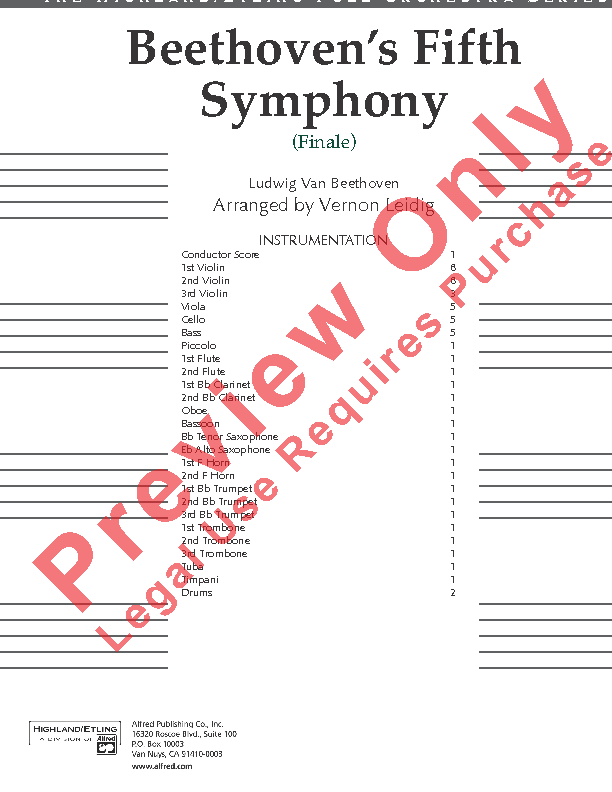 Beethoven's Symphony #5 Finale Sheet Music by Leidig (SKU: 12107) -  Stanton's Sheet Music