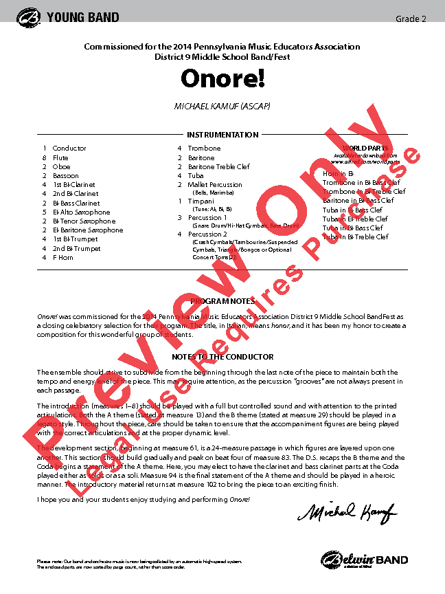 Onore Sheet Music by Michael Kamuf (SKU: 43110) - Stanton's Sheet Music