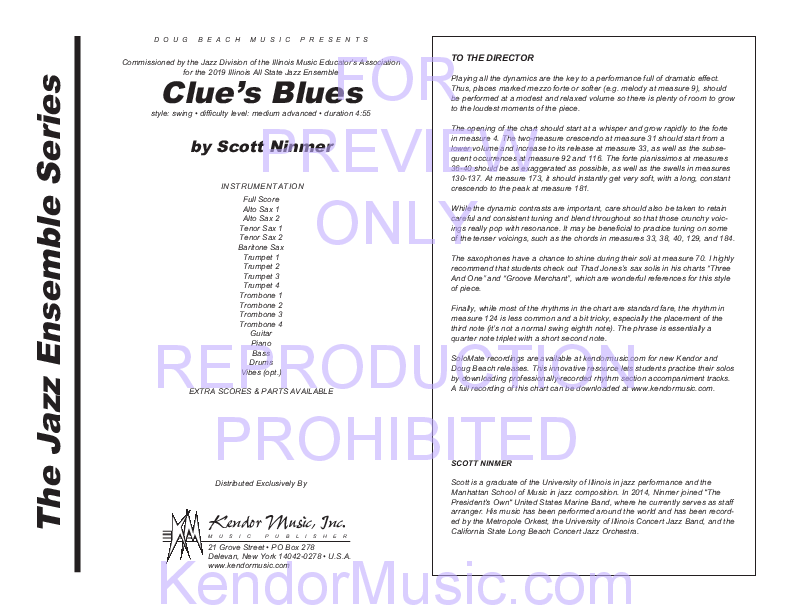 Clue's Blues Sheet Music by Scott Ninmer (SKU: 43102) - Stanton's Sheet  Music